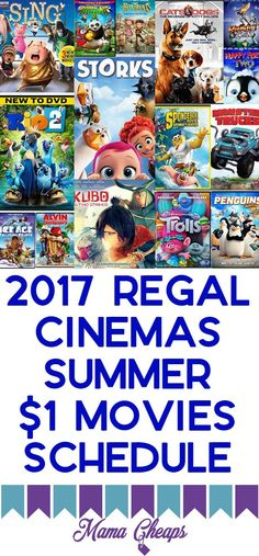 2017 Regal Cinemas Summer $1 Movies Schedule is right here!!