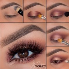 """@elymarino using ALL Motives! 1.Begin by applying """"Birch"""" shadow (mavens palette) onto the brow bone 2.Taking """"Sweet Plum"""" pat on both the inner and outer corners of the eyes 3.Using a fluffy blending brush and a bit more """"Sweet Plum"""" connect both ends in the crease and blend 4.Taking """"Runway"""" shadow soften the edges a but more! Using """"Pink Diamond"""" apply to the center of the lid, with a bit of """"Allure"""" paint pot over top 5.Using """"Allure"""" paint pot apply to the inner corner of the eye…"""