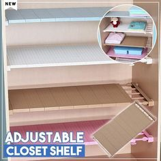 Want more layer added in your closet? Try this magic shelf. This Adjustable Closet Shelf can help you to make good use of the space you can't reach that wasted Wardrobe Shelving, Closet Shelves, Extra Storage Space, Storage Spaces, Storage Rack, Storage Shelves, Bathroom Storage, Kitchen Storage, Home Hacks