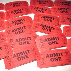 Vintage Red Admit One Carnival or Raffle by grandmothersattic, $3.95
