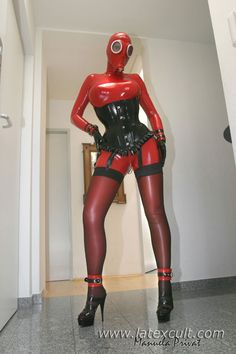 Manuela from SimonO in red rubber and gas mask