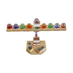 Stone and Glass Hanukkah Menorah with Colorful Candleholders and Dreidel