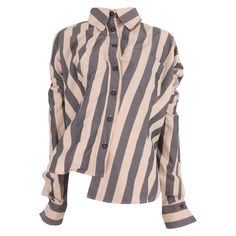 Vivienne Westwood Grey and Ivory Vertical Striped Ruffle Asymmetric Shirt | From a collection of rare vintage shirts at https://www.1stdibs.com/fashion/clothing/shirts/