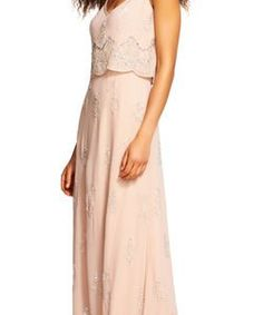 Beaded Popover Gown with Scallop Design