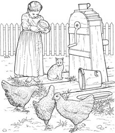 Chickens At Barnyard Coloring Page From Chicken Category Select 26977 Printable Crafts Of Cartoons Nature Animals Bible And Many More