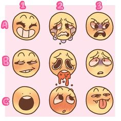 Enjoy this emotion chart! You can use them as a base or what ever just please just credit me! ALSO Give me a letter and a number as well… Drawing Meme, Drawing Prompt, Facial Expressions Drawing, Drawing Reference Poses, Drawing Poses, Drawing Tips, Expression Sheet, Art Prompts, Art Poses