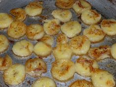 Honey Fried Bananas: My daughter just pinned the recipe for this and I had to run into the kitchen right then and there and make it! It's 1 firm banana sliced & fried in a bit of olive oil. Take off heat when browned on both sides, about 1-2 minutes per side. Mix 1 tablespoon of honey w/1 tablespoon water, drizzle on top of cooked nanners w/sprinkling of cinnamon. Pretty good, would be excellent in crescent roll dough.