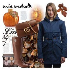 """""""Mia Melon"""" by gaby-mil ❤ liked on Polyvore featuring Gucci, Laura Mercier, Tory Burch, jacket, weatherproof and miamelon"""