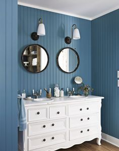 Blue bead board in bathroom