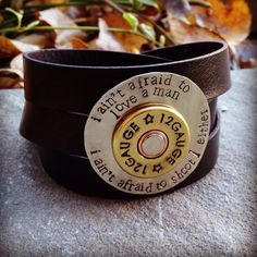 Genuine leather multi wrap cuff w hand stamped Annie Oakley quote and shotgun shell accent ya want one