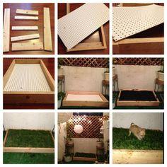 DIY Indoor Dog Potty DIY dog grass box Easy to make and less than $40 at Home Indoor Dog Potty, Porch Potty, Indoor Dog Area, Dog Bathroom, Dog Toilet, Diy Dog Bed, Dog Beds, Animal Room, Dog Rooms