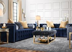 The Diana sofa is exotic, adventurous and glamorous. Rich hues in indigo and beautiful nailhead trim create a distinctive, unique and daringly sensuous look. Button-tufted velvet-look polyester adorns this piece, while Tibetan gray faux fur on the accent pillows adds fabulous flair.
