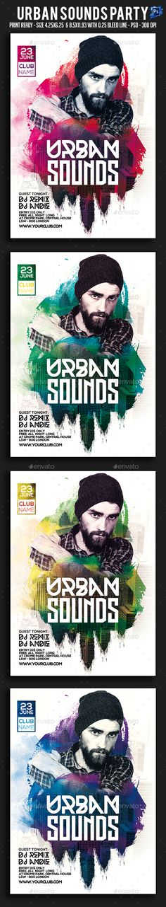 Urban Sounds Party Flyer Template PSD