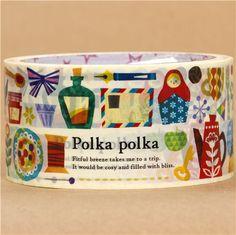 POLKA POLKA! big colourful Matryoshka deco Sticky Tape 1