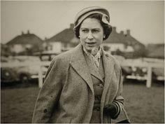 HM Queen Elizabeth II, in tweed, at the races
