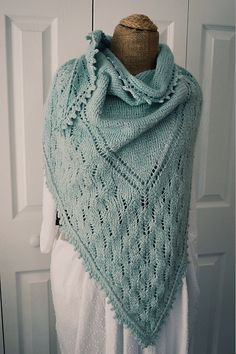 """Ravelry: Groh pattern by Annie Lupton Today through Sunday October 4th take off 25% of this pattern or the entire Down River Collection with coupon code """"DownRiver"""" when you check out! Groh is a bandana style, triangle shaped shawl knit from the bottom up. Groh is the perfect pattern for fine spinners who want a use for their fingering or lace weigh hand spun yarns."""