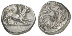 SICYONIA, Sikyon, silver Stater, approximate 330 BC, Aversum: chimera to the right, beneath brisure, reverse: dove flies to the right, right brisure, everything in the wreath, BCD Peloponnesos 202. 2, fine Shading, 11. 96 g, good very fine    Dealer  Auction house Ulrich Felzmann    Auction  Minimum Bid:  350.00EUR