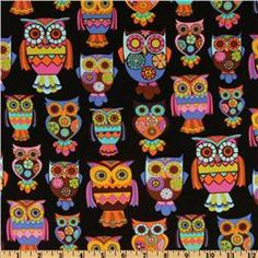 Owl, Owls Black (also in Cream) by Alice Kennedy for Timeless Treasures $8.48 a yard
