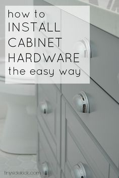 How to Install Cabinet Hardware the Easy Way- Awesome tips to get your hardware straight and level on the first try! Kitchen Tips, Kitchen Redo, Kitchen Updates, Kitchen Ideas, Kitchen Design, Kitchen Cabinets, Home Kitchens, Things To Do, Diy Projects To Try
