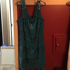 Sequin party dress Very pretty sequin and chiffon layered dress! Only worn once for a wedding! Still in excellent condition! Maybe 1 or 2 sequins missing but it's not noticeable. Make me an offer!!!  Dress Barn Dresses Midi