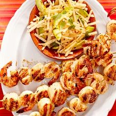 Grilled-Drunken-Shrimp-Scallop-Skewers-RU180312 Cold Appetizers, Appetizers For Party, Appetizer Recipes, Salad Recipes, Scallop Appetizer, Healthy Finger Foods, Pan Seared Scallops, Marinated Shrimp