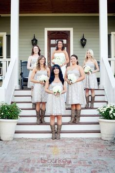now this is beautiful...lace bridesmaids dresses with matching cowboy boots