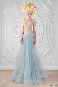 rami kadi spring 2014 couture collection hand embroidered top plunging neckline blue tulle a line gown dress