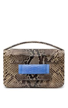 METALSKIN - One Of A Kind Python Madison Clutch in Barley