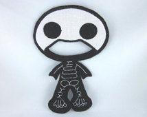 Costume squelette, poupées en papier tissu, poupée de tissu de papier, feutre vêtements de poupée, poupée de papier tissu