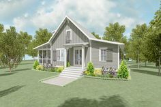A screened porch runs along the entire left side of this cozy 2-bed house plan with a cottage vibe to it.A shed roof provides protection as you enter through the French doors to the great room. The kitchen is open to this space and a peninsula gives you casual seating.Bedrooms line the back of the house and laundry is tucked away between them behind pocket doors.