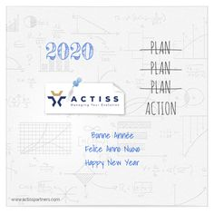 La réussite de cette ecard de voeux réside dans son aspect épuré et sa simplicité. L'entreprise Actiss  a uniformisé la colorisation des éléments texte (le millésime et le texte de voeux), en déclinant les couleurs de son logo. Action, Happy New Year, Bullet Journal, How To Plan, Logo, Virtual Card, Planner Organization, Business, Colors