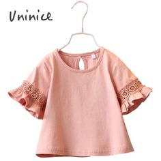 Summer Style Girl Cotton Lace T-Shirts For Girls Kids Girls Cute Flower Casual Girls Clothes Lace Shirt Blouses 2016