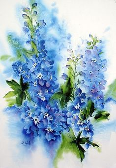 Blue Delphinium flowers Watercolor painting ~ Bev Wells by cherry Art Floral, Watercolor Flowers, Watercolor Paintings, Watercolors, Flower Paintings, Watercolor Techniques, Painting Inspiration, Painting & Drawing, Flower Art