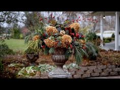 Foraged December arrangement (mostly.I got the magnolia from our local florist 😊). We put together a video a showing the process, and it… Winter Container Gardening, Small Space Gardening, Container Plants, Outdoor Christmas Decorations, Holiday Decor, Diy Christmas, Xmas, Outdoor Decor, Backyard Plan