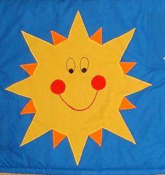 """Sluníčko a měsíc....kapsář Kapsář je z bavlněného plátna,plněný vatelínem,velikost 200x60cm +poutka,je určený na zeď za postel,kde tlumí nárazy dítěte,chrání proti chladu od zdi a ušpinění peřin.Má 8 kapsiček (vždy pod barevnou aplikací """"hvězdiček a mráčků"""") Pikachu, Fictional Characters, Art, Art Background, Kunst, Performing Arts, Fantasy Characters, Art Education Resources, Artworks"""