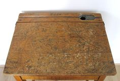 Old School Wooden Desk. Lift up lid to keep your books (trap your fingers in), and a groove to hold your pencils...