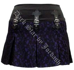 Dark Star Gothic Black & Purple Lace PVC Mini Skirt [DS/SK/5974P] - $48.99 : Mystic Crypt, the most unique, hard to find items at ghoulishly great prices!
