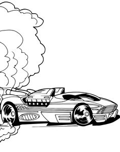 Hot Wheels Speeding Coloring Page