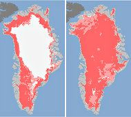 Rare Burst of Melting Seen in Greenland's Ice Sheet  By KELLY SLIVKA    In a scant four days this month, the surface of Greenland's ice sheet melted to an extent not witnessed in 30 years of satellite observations, NASA reported on Tuesday.