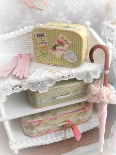 Bon Voyage  Three suitcases Pink Brolly & by TheShabbyGardener, £30.00