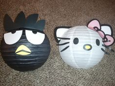 Sanrio themed 4th birthday party - Bad Badtz-maru & Hello Kitty paper lanterns