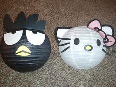 Sanrio themed 4th birthday party - Bad Badtz-maru & Hello Kitty paper lanterns