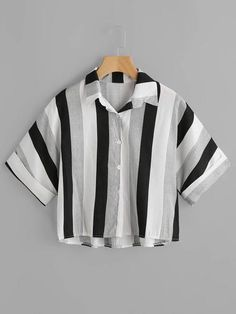 SheIn offers Contrast Striped High Low Cuffed Shirt & more to fit your fashionable needs. Girls Fashion Clothes, Teen Fashion Outfits, Retro Outfits, Cute Casual Outfits, Stylish Outfits, Trendy Fashion, Crop Top Outfits, Aesthetic Clothes, High Low