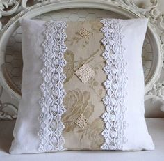 Etsy - Buy handmade, vintage, personalized and unique gifts for everyone, Burlap Pillows, Sewing Pillows, Sofa Pillows, Decorative Pillows, Throw Pillows, Pillow Fabric, Shabby Chic Cushions, Doily Art, Memory Pillows