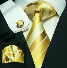 110 Bacrelli Yellow paisley 100% Silk Tie Set « Silk Ties | Wedding Ties | Wedding Sets