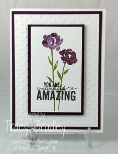 I made this card using the stamp set Painted Petals from Stampin' Up!  For more details please visit my blog:  http://stampingwithtracy.com/painted-petals-blackberry-bliss/