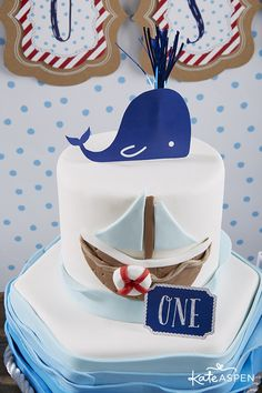 Nautical First Birthday Party Ideas | Sailing Party | www.kateaspen.com | Kate Aspen | Red White & Blue | Nautical Birthday Cake | Nautical Cake Topper | Free Printables for Nautical Party