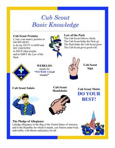 "Great sheet that shows the ""Cub Scout Basic Knowledge"".  Has the Promise, Law of the Pack, Sign, Salute, Handshake, Motto, & Pledge of Allegiance."