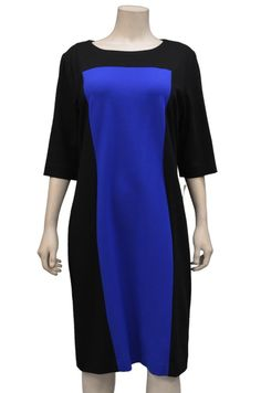 NWT J'ENVIE Sapphire/Black Colorblock  Knit Shift Dress Sz 14#Jenvie #Shift