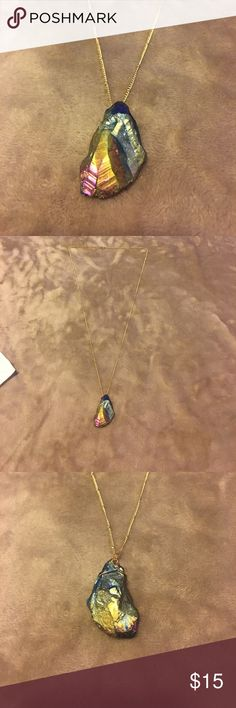 Gorgeous stone with gold necklace Long decorative chain. Rainbow stone. Jewelry Necklaces